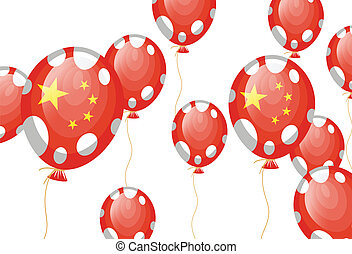 red balloon of chinese flag with white spots