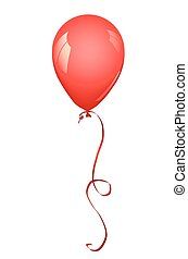Red balloon - Red latex balloon inflated. Vector ...