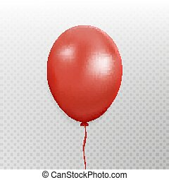 Red balloon vector. Party baloon with ribbon and shadov isolated on white background. Flying 3d ball