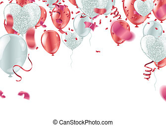 Red balloons confetti, serpentine or ribbons falling on white transparent background