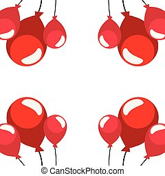 red balloons decoration on white background
