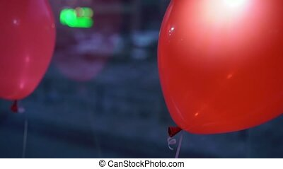 Red balloons in a bus - Red balloons inside a bus at evening...