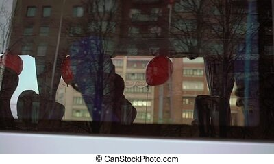 Red balloons in a bus - Red balloons inside a bus...