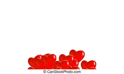 Red balloons in heart shape - Red balloons in the shape of a...