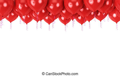 Red balloons in top as a background with space for text