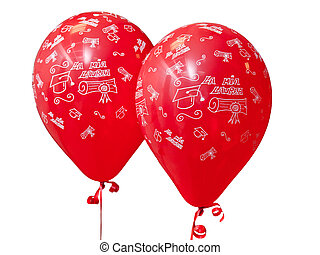 Red balloons to celebrate graduation day. - Two red balloons...