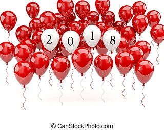 Red balloons with 2018 New Year sign. 3D illustration