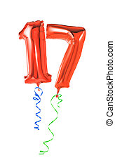 Red balloons with ribbon - Number 17