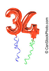 Red balloons with ribbon - Number 34