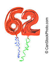 Red balloons with ribbon - Number 62