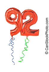 Red balloons with ribbon - Number 92