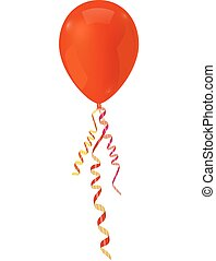 Red balloons with serpentine ribbon