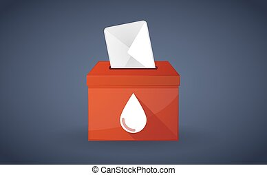 Red ballot box with a blood drop
