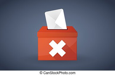 """Red ballot box with an """"x"""" sign"""