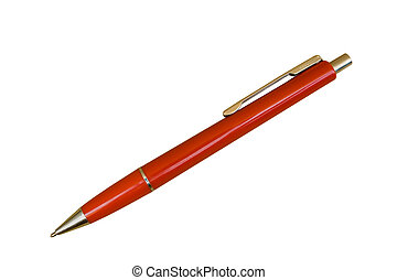 Red Ballpoint Pen; Isolated, Two Pathes included
