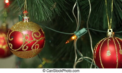 red balls on a Christmas tree