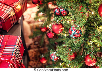 red balls on the Christmas tree