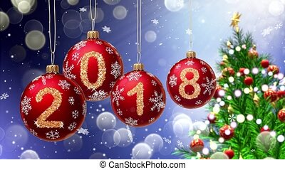 red balls with numbers 2018 hanging on the background of a...