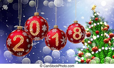 red balls with numbers 2018 hanging on the background of a ...