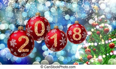 red balls with numbers 2018 hanging on the background of a blue bokeh and a rotating Christmas tree 3d rendering.