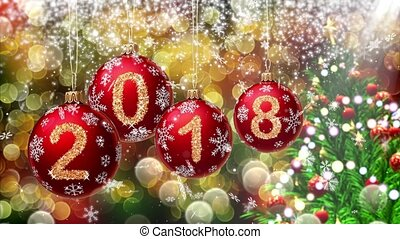 red balls with numbers 2018 hanging on the background of a bokeh and a rotating Christmas tree. 3d rendering.