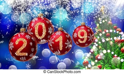 red balls with numbers 2019 hanging on the background of a...