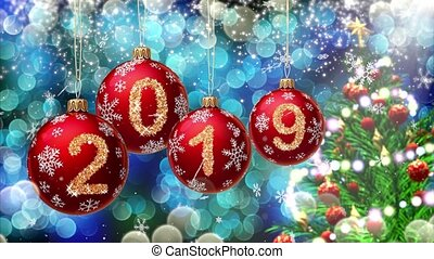 red balls with numbers 2019 hanging on the background of a blue bokeh and a rotating Christmas tree 3d rendering.