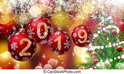 red balls with numbers 2019 hanging on the background of a gold bokeh and a rotating Christmas tree 3d rendering.