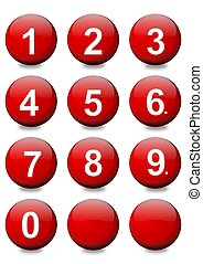 Red balls with white numbers as an illustration