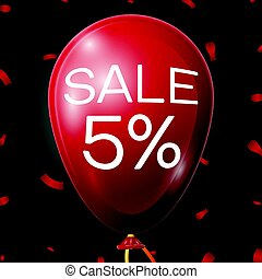 Red Baloon with 5 percent discounts over black background. Vector illustration