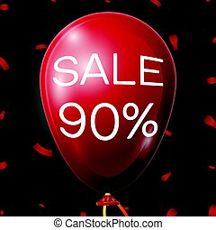 Red Baloon with 90 percent discounts over black background. Vector illustration