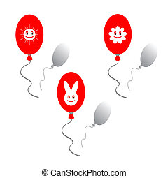 Red baloons with funny images