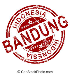 Red Bandung stamp with white background, 3D rendering