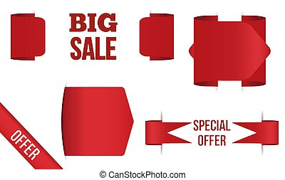 Red banner big sale Isolated on white background.