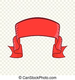 Red banner icon, cartoon style