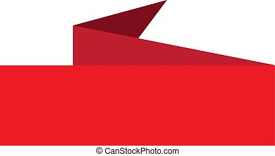 red banner ribbon icon on white background.