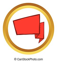 Red banner vector icon, cartoon style