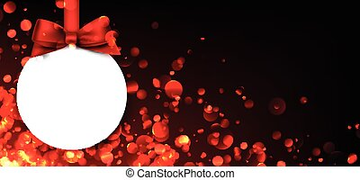 Red banner with Christmas ball.