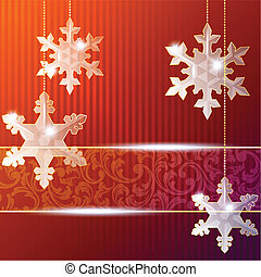 Red banner with snowflakes - Blue Christmas banner with ...