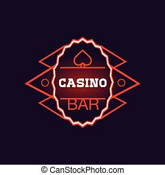 Red Bar Casino Oval Neon Sign