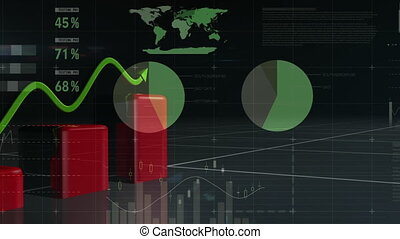 Red bar chart and green trend line