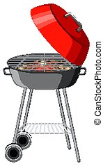 Red barbecue grill on white background