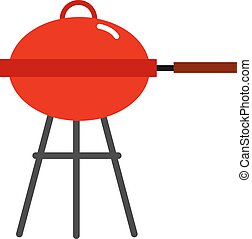 Red barbecue, illustration, vector on white background.