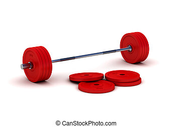 Red barbell isolated on white background