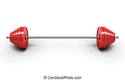 Red barbell isolated on white
