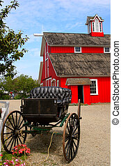 Red Barn and Buggy - A farm in Southern California looks...