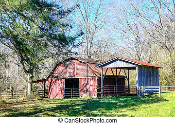 Red Barn and Old Shed