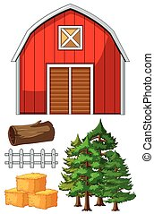 Red barn and other farm elements