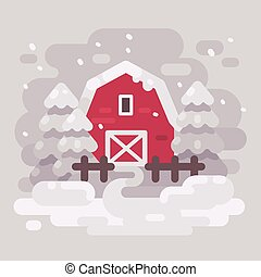 Red barn building with fir trees in a snowy winter landscape. White winter background flat illustration