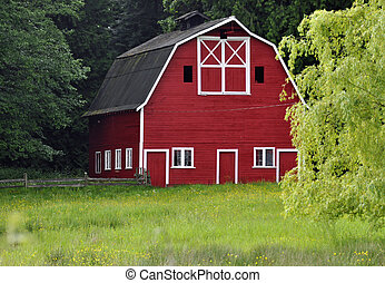 Red Barn from across a Meadow - Rustic red barn from across...